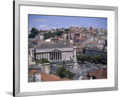 Aerial View of Rossio Square and City, Lisbon, Portugal-J Lightfoot-Framed Photographic Print