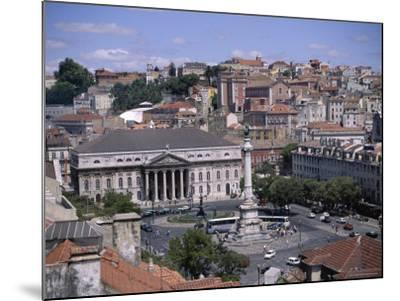 Aerial View of Rossio Square and City, Lisbon, Portugal-J Lightfoot-Mounted Photographic Print