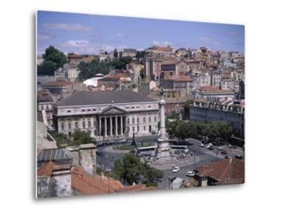 Aerial View of Rossio Square and City, Lisbon, Portugal-J Lightfoot-Metal Print