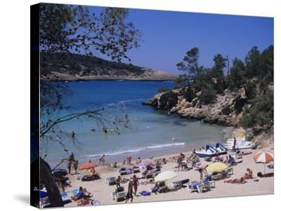 Crowded Beach at Portinatx, Ibiza, Baleares, (Spain)-J Lightfoot-Stretched Canvas Print
