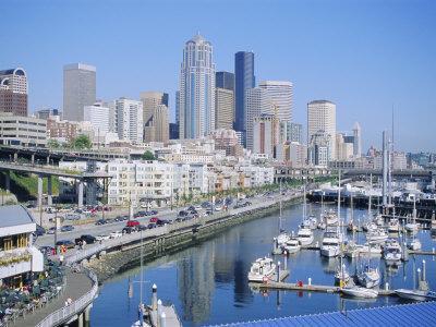 Waterfront and Skyline of Seattle, Washington State, USA-J Lightfoot-Framed Photographic Print