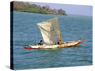 Canoe with Sail, River Gambia, the Gambia, West Africa, Africa-J Lightfoot-Stretched Canvas Print