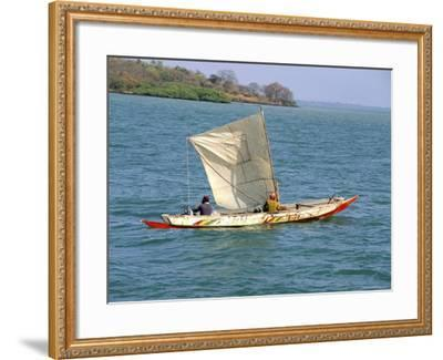 Canoe with Sail, River Gambia, the Gambia, West Africa, Africa-J Lightfoot-Framed Photographic Print