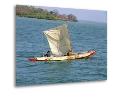 Canoe with Sail, River Gambia, the Gambia, West Africa, Africa-J Lightfoot-Metal Print
