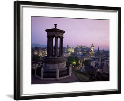 Stewart Monument and Princes Street, Edinburgh, Lothian, Scotland, United Kingdom-Roy Rainford-Framed Photographic Print