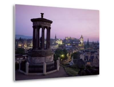 Stewart Monument and Princes Street, Edinburgh, Lothian, Scotland, United Kingdom-Roy Rainford-Metal Print