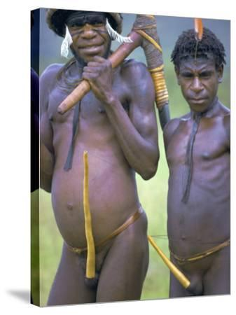 Portrait of Two Dani Tribesmen Wearing Penis Gourds, Irian Jaya, New Guinea, Indonesia-Claire Leimbach-Stretched Canvas Print