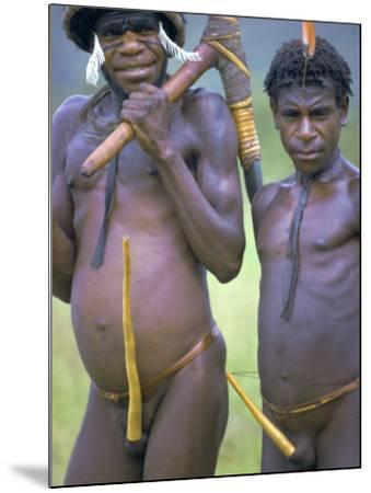 Portrait of Two Dani Tribesmen Wearing Penis Gourds, Irian Jaya, New Guinea, Indonesia-Claire Leimbach-Mounted Photographic Print