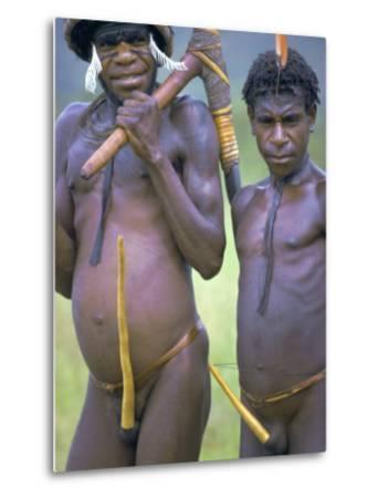 Portrait of Two Dani Tribesmen Wearing Penis Gourds, Irian Jaya, New Guinea, Indonesia-Claire Leimbach-Metal Print