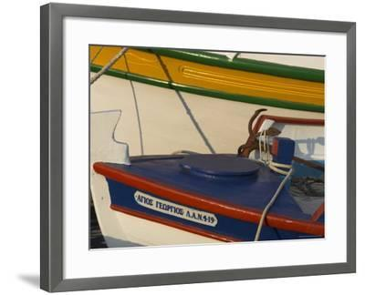 Close up of Two Freshly Painted Fishing Boats, Sitia, Crete, Greek Islands, Greece-Eitan Simanor-Framed Photographic Print