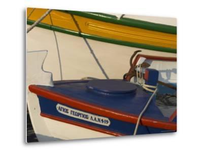 Close up of Two Freshly Painted Fishing Boats, Sitia, Crete, Greek Islands, Greece-Eitan Simanor-Metal Print
