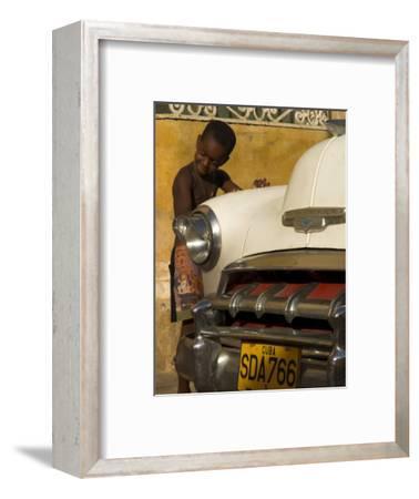Young Boy Drumming on Old American Car's Bonnet,Trinidad, Sancti Spiritus Province, Cuba-Eitan Simanor-Framed Photographic Print