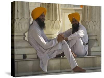 Two Sikhs Priests with Orange Turbans, Golden Temple, Punjab State-Eitan Simanor-Stretched Canvas Print