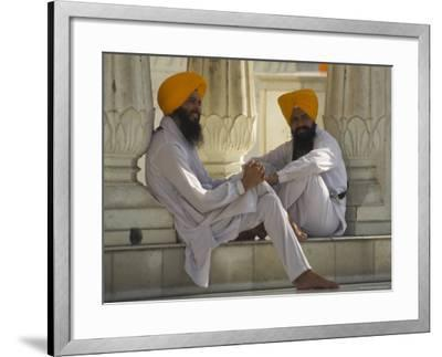 Two Sikhs Priests with Orange Turbans, Golden Temple, Punjab State-Eitan Simanor-Framed Photographic Print