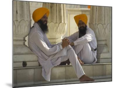 Two Sikhs Priests with Orange Turbans, Golden Temple, Punjab State-Eitan Simanor-Mounted Photographic Print