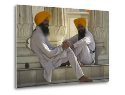 Two Sikhs Priests with Orange Turbans, Golden Temple, Punjab State-Eitan Simanor-Metal Print
