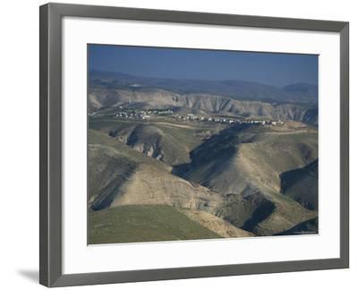 View in Winter with Typical Hills in Foreground and Alon Settlement Beyond, Judean Desert, Israel-Eitan Simanor-Framed Photographic Print