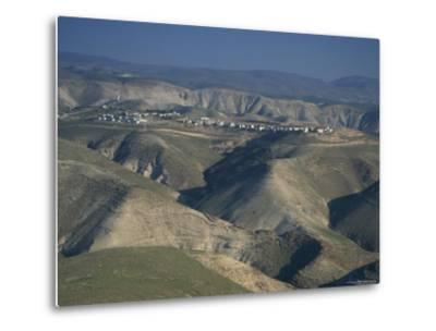 View in Winter with Typical Hills in Foreground and Alon Settlement Beyond, Judean Desert, Israel-Eitan Simanor-Metal Print