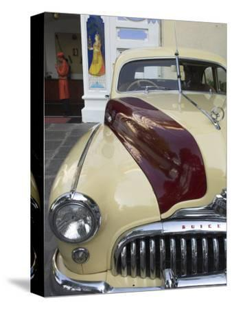 Old Buick Car in Front of Entrance to the City Palace Hotel, Old City, Udaipur, India-Eitan Simanor-Stretched Canvas Print