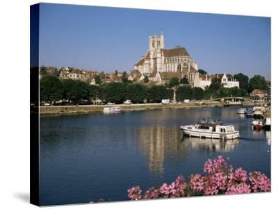 St. Stephen's Cathedral on Skyline, Auxerre, River Yonne, Bourgogne, France-Michael Short-Stretched Canvas Print
