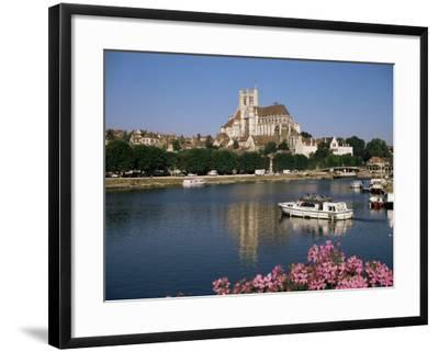St. Stephen's Cathedral on Skyline, Auxerre, River Yonne, Bourgogne, France-Michael Short-Framed Photographic Print