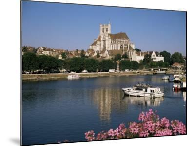 St. Stephen's Cathedral on Skyline, Auxerre, River Yonne, Bourgogne, France-Michael Short-Mounted Photographic Print