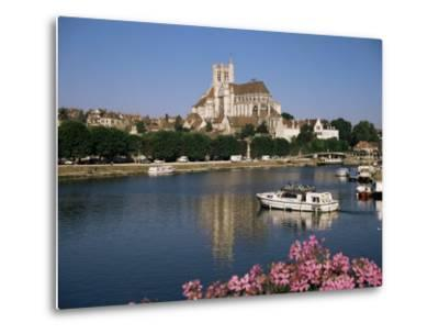 St. Stephen's Cathedral on Skyline, Auxerre, River Yonne, Bourgogne, France-Michael Short-Metal Print