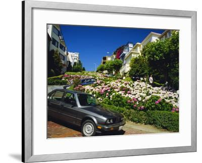 Lombard Street the Crookedest Street in the World, San Franscisco, Califonia, USA-Fraser Hall-Framed Photographic Print