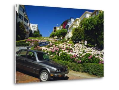 Lombard Street the Crookedest Street in the World, San Franscisco, Califonia, USA-Fraser Hall-Metal Print