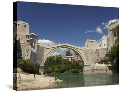 The New Old Bridge Over the Fast Flowing River Neretva, Mostar, Bosnia, Bosnia-Hertzegovina-Graham Lawrence-Stretched Canvas Print