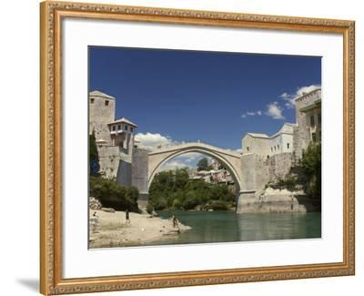 The New Old Bridge Over the Fast Flowing River Neretva, Mostar, Bosnia, Bosnia-Hertzegovina-Graham Lawrence-Framed Photographic Print