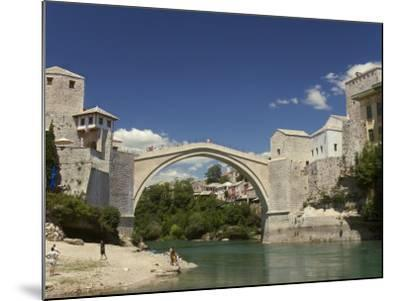 The New Old Bridge Over the Fast Flowing River Neretva, Mostar, Bosnia, Bosnia-Hertzegovina-Graham Lawrence-Mounted Photographic Print