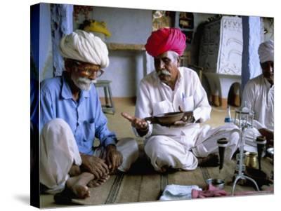 Opium Ceremony, Village Near Jodhpur, Rajasthan State, India-Bruno Morandi-Stretched Canvas Print
