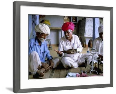 Opium Ceremony, Village Near Jodhpur, Rajasthan State, India-Bruno Morandi-Framed Photographic Print