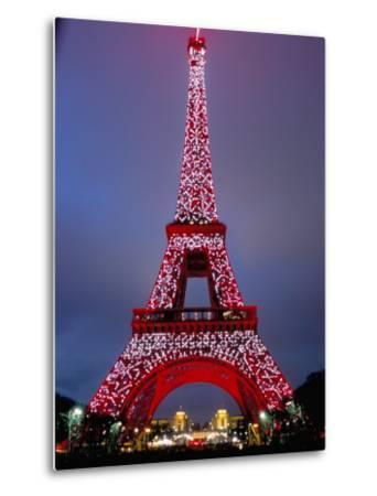 Eiffel Tower Decorated for Chinese New Year, Paris, France-Bruno Morandi-Metal Print
