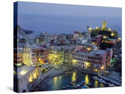 Village of Vernazza in the Evening, Cinque Terre, Unesco World Heritage Site, Liguria, Italy-Bruno Morandi-Stretched Canvas Print