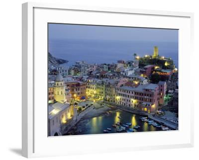 Village of Vernazza in the Evening, Cinque Terre, Unesco World Heritage Site, Liguria, Italy-Bruno Morandi-Framed Photographic Print