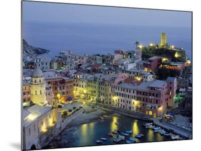 Village of Vernazza in the Evening, Cinque Terre, Unesco World Heritage Site, Liguria, Italy-Bruno Morandi-Mounted Photographic Print
