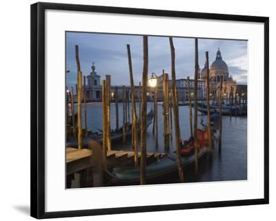 Gondolas on Waterfront at Night, Church Basilica, Venice, Unesco World Heritage Site, Veneto, Italy-Christian Kober-Framed Photographic Print
