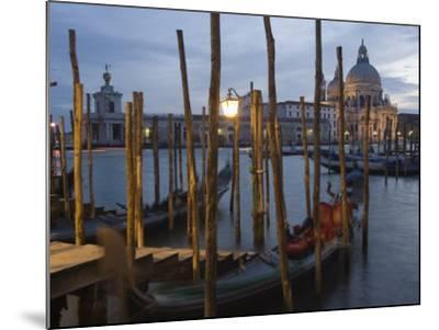 Gondolas on Waterfront at Night, Church Basilica, Venice, Unesco World Heritage Site, Veneto, Italy-Christian Kober-Mounted Photographic Print