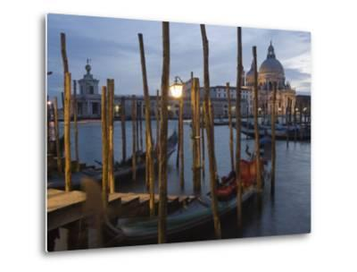 Gondolas on Waterfront at Night, Church Basilica, Venice, Unesco World Heritage Site, Veneto, Italy-Christian Kober-Metal Print