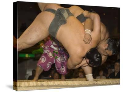 Sumo Wrestlers Competing, Grand Taikai Sumo Wrestling Tournament, Kokugikan Hall Stadium, Tokyo-Christian Kober-Stretched Canvas Print