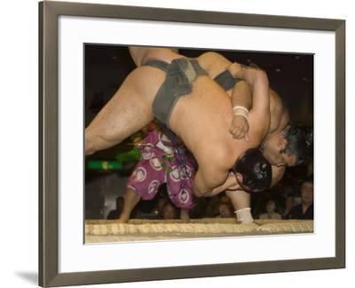 Sumo Wrestlers Competing, Grand Taikai Sumo Wrestling Tournament, Kokugikan Hall Stadium, Tokyo-Christian Kober-Framed Photographic Print