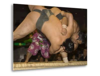 Sumo Wrestlers Competing, Grand Taikai Sumo Wrestling Tournament, Kokugikan Hall Stadium, Tokyo-Christian Kober-Metal Print