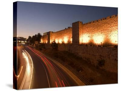Night Time Lights of Traffic, Jaffa Gate, Old Walled City, Jerusalem, Israel, Middle East-Christian Kober-Stretched Canvas Print