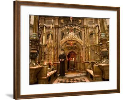 Priest at Tomb of Jesus Christ, Church of Holy Sepulchre, Old Walled City, Jerusalem, Israel-Christian Kober-Framed Photographic Print