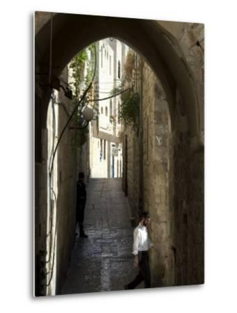 Jewish Man in Traditional Clothes, Old Walled City, Jerusalem, Israel, Middle East-Christian Kober-Metal Print