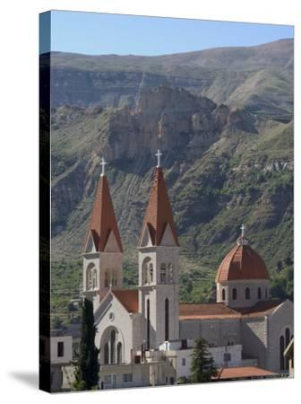 St. Saba Church, Red Tile Roofed Town, Bcharre, Qadisha Valley, North Lebanon, Middle East-Christian Kober-Stretched Canvas Print
