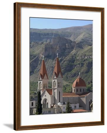 St. Saba Church, Red Tile Roofed Town, Bcharre, Qadisha Valley, North Lebanon, Middle East-Christian Kober-Framed Photographic Print