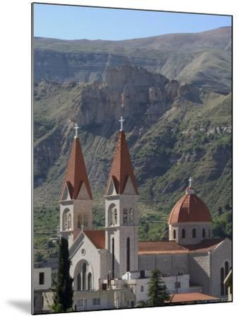 St. Saba Church, Red Tile Roofed Town, Bcharre, Qadisha Valley, North Lebanon, Middle East-Christian Kober-Mounted Photographic Print